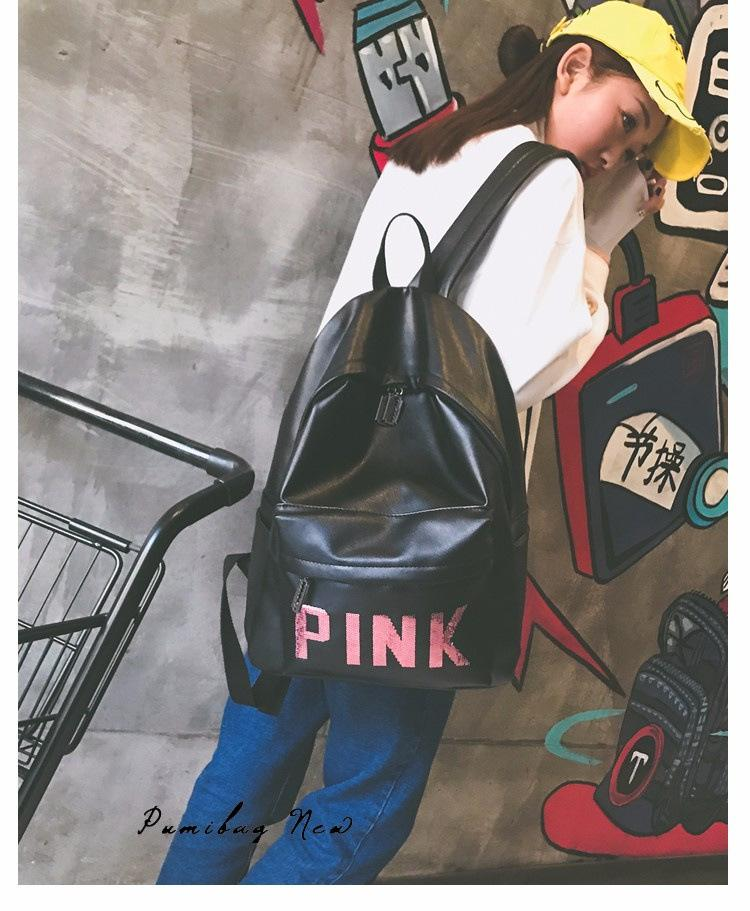Love Pink Letter PU Leather Bags Backpack Girls Fashion Deisgn Shoulder Bag  Outdoor Sports Travel Teenager School Rucksack Waterproof Bag Online with  ... 5574a8c24e777