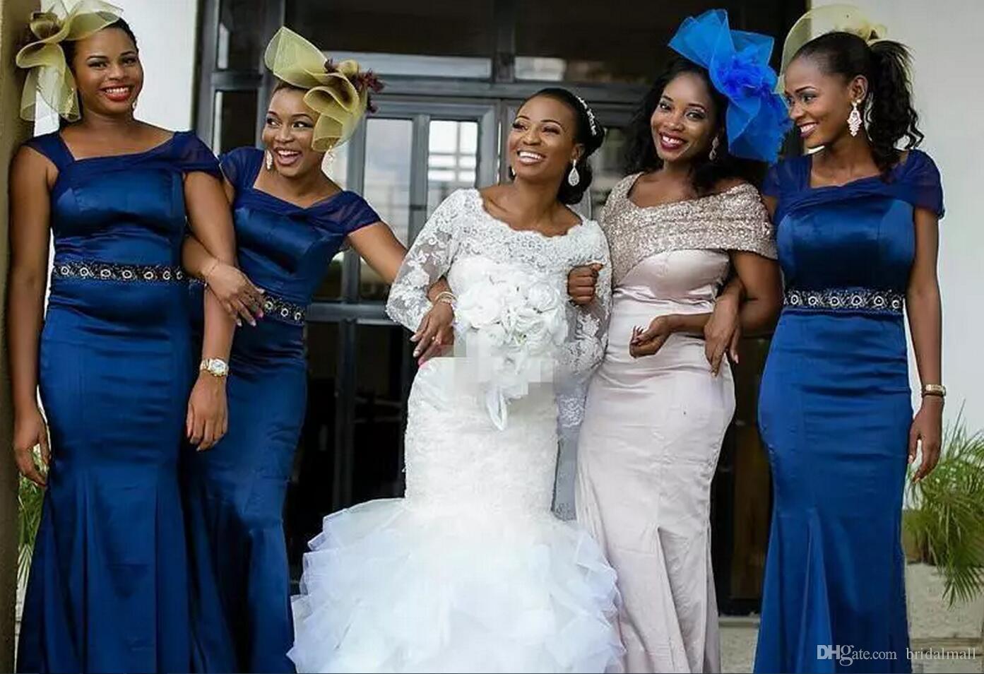 아프리카 빈티지 인 어 공주 레이스 웨딩 드레스 플러스 크기 긴 소매 골동품 Sequined 프릴 열차 2018 나이지리아 신부 웨딩 드레스 저렴 한