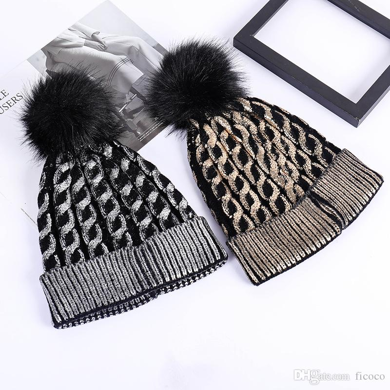 1d0c29f4818 Silver Gold Sequins Pom Pom Winter Hats Weaven Beanie Gorras Luxury Cap  Fitted Hat Luxury Polo Hats Skull Caps Bucket Hats Baseball Hat Beach Hats  From ...