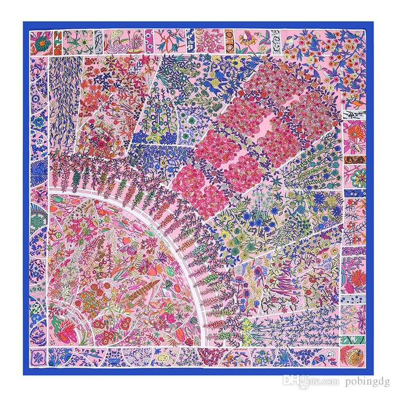 New Twill Silk Scarf Women Geometric Print Square Scarves Palace Floral Fashion Large Foulard Femme Shawls Wraps Bandana Kerchief 130*130cm