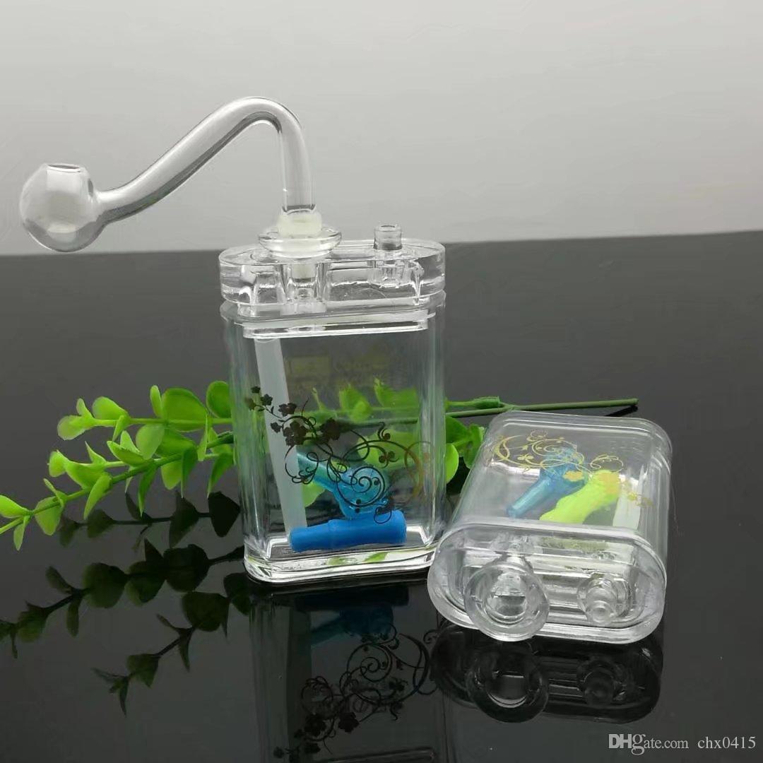 담배 패킷과 함께 새로운 빛 물 담뱃대 아크릴 미니 물 담 뱃 대, 유리 봉, 유리 물 파이프, 금연 파이프
