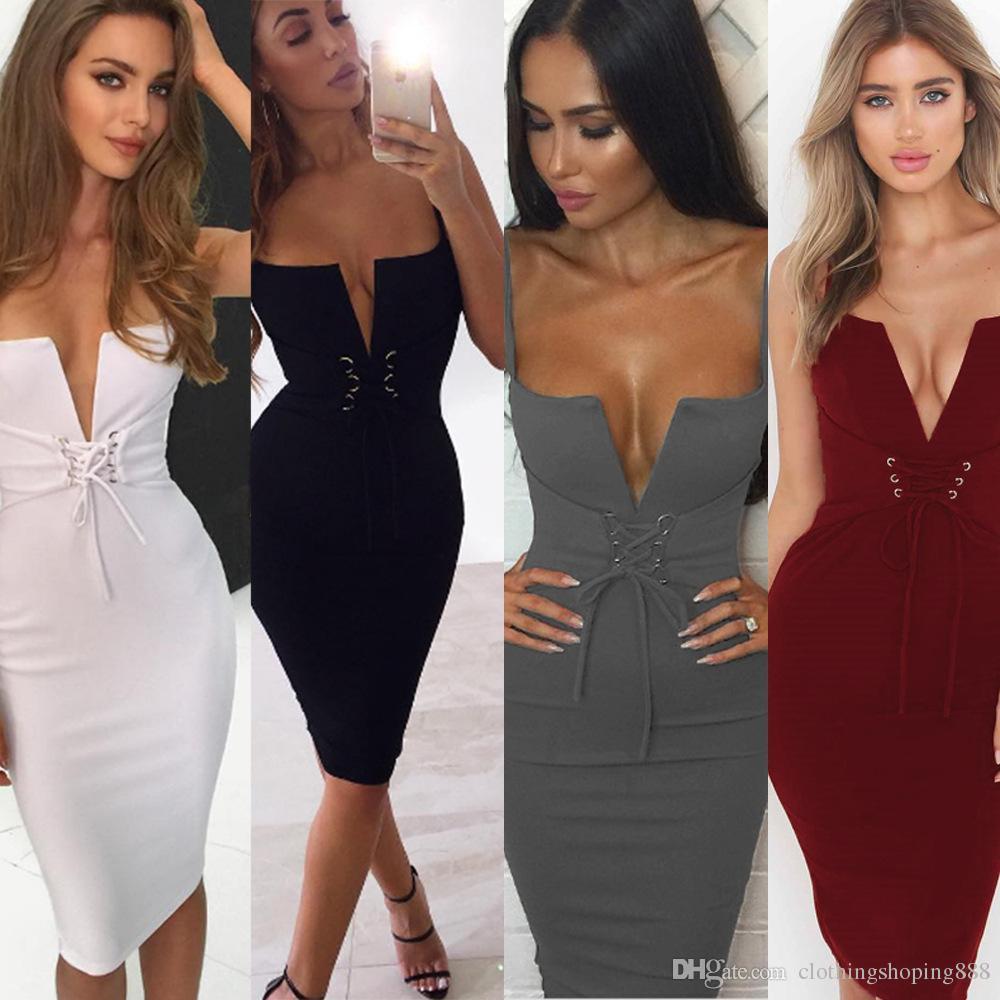 3e6bfc998c17 Sibybo New Summer Bandage Bodycon Dress 2018 Deep V Neck Lace Up Midi  Halter Sexy Sleeveless Club Party Dresses Vestidos Dress Styles For Ladies  Women ...