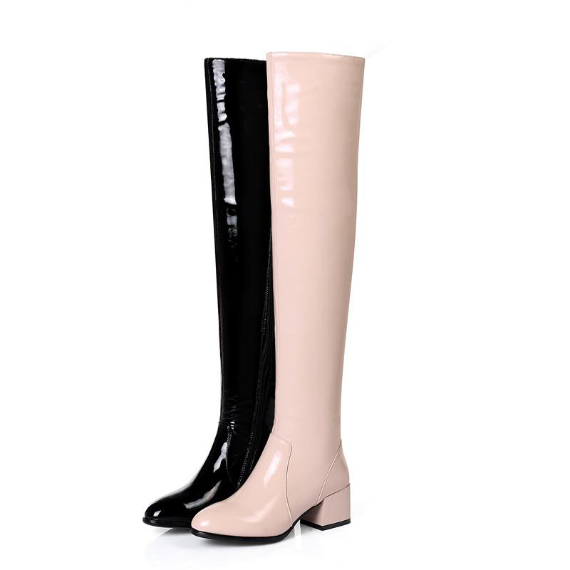 d7313a62985a Apoepo Over The Knee Red Patent Leather Boots Customized Thick Heels Woman  Boots Sexy High Heel Thigh High Boots Cheap Shoes Womens Shoes From  Yaojingnvxie