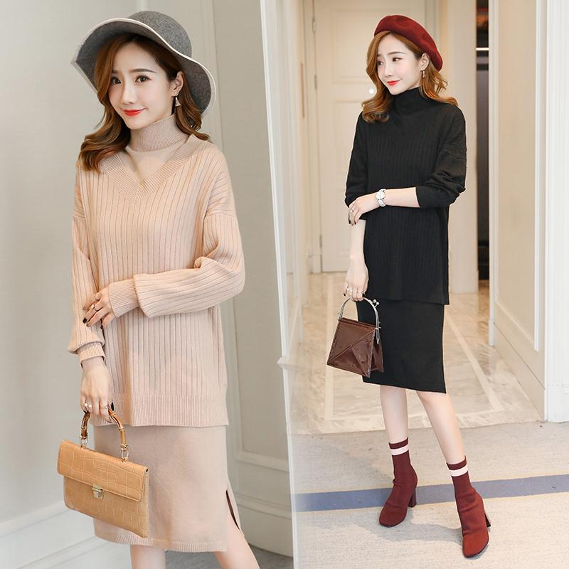fbcaae2b012d9 2019 5501# 2018 Autumn Winter Fashion Knitted Maternity Sweater Dress  Turtleneck Clothes For Pregnant Women Pregnancy Suits From Ouronlinelife,  ...
