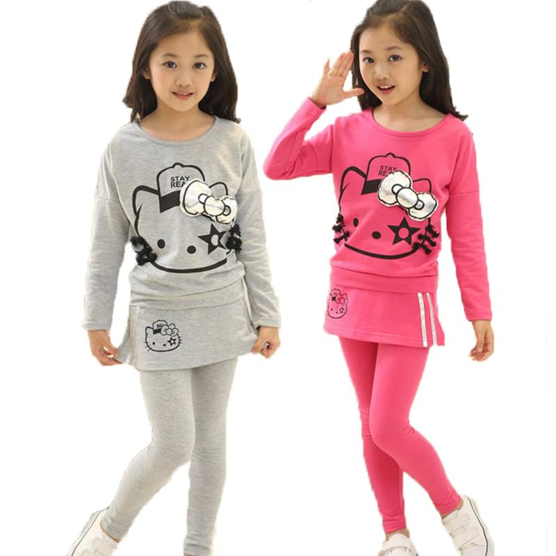 8c0e50811 2019 New Teenager Girls Hello Kitty Long Sleeve T Shirt Skirt ...