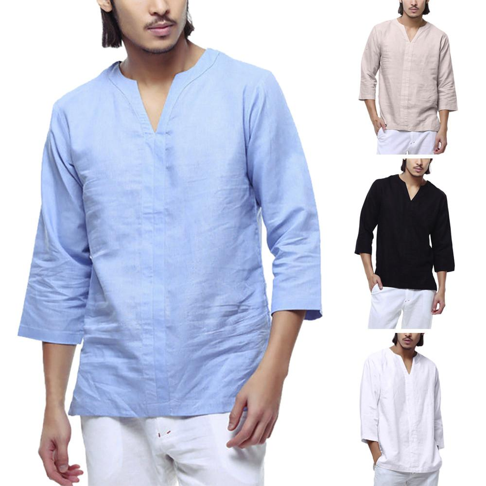 ef7eb217b89d Summer,Autumn Men's Shirts Baggy Cotton Linen 3/4 Sleeve Retro V Neck T  Shirts Tops Blouse Daily,Casual