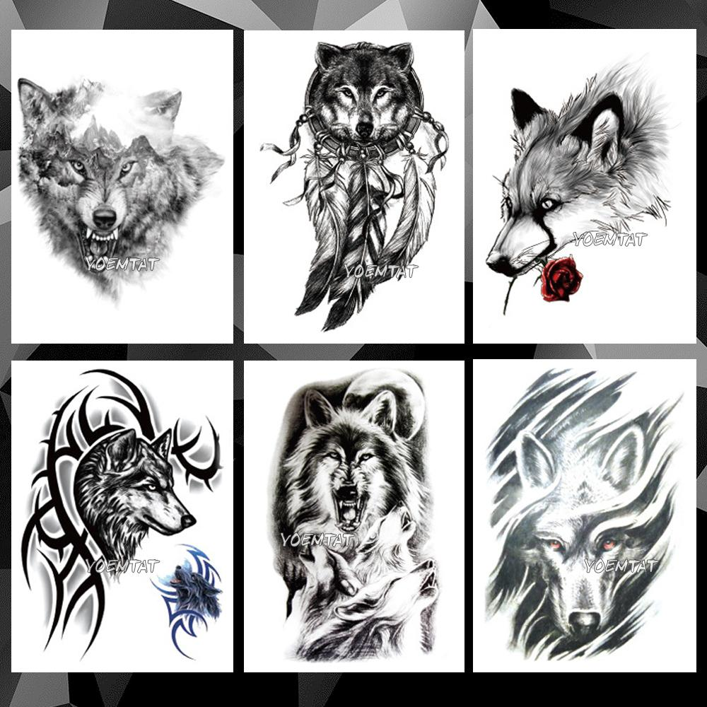 833da10d7 Waterproof Temporary Tattoo Sticker Wolf Pattern Tattoo Water Transfer Lion  Tiger Animal Body Art Fake Women Me Removable Tattoos For Adults Rose  Temporary ...