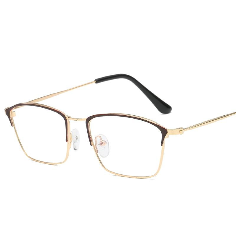 88c18e49beb 2019 Fashion Square Spectacles Glasses Pilot Flat Mirror Metal Frame ...