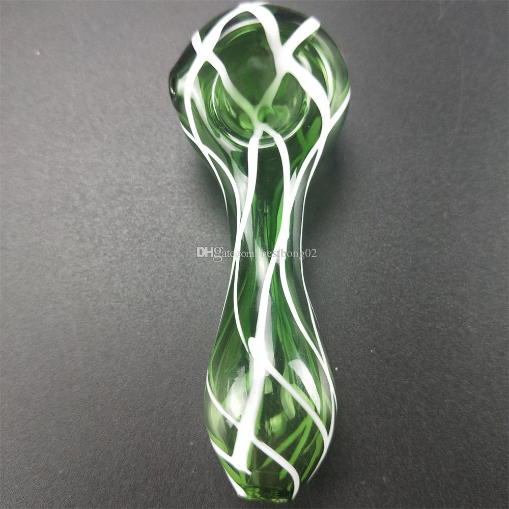 Tubos de mano de vidrio soplado manual puro Tubos de cuchara de tabaco de vidrio Pyrex barato Tubo pequeño cuenco único Tubos de olla únicos piezas para fumar