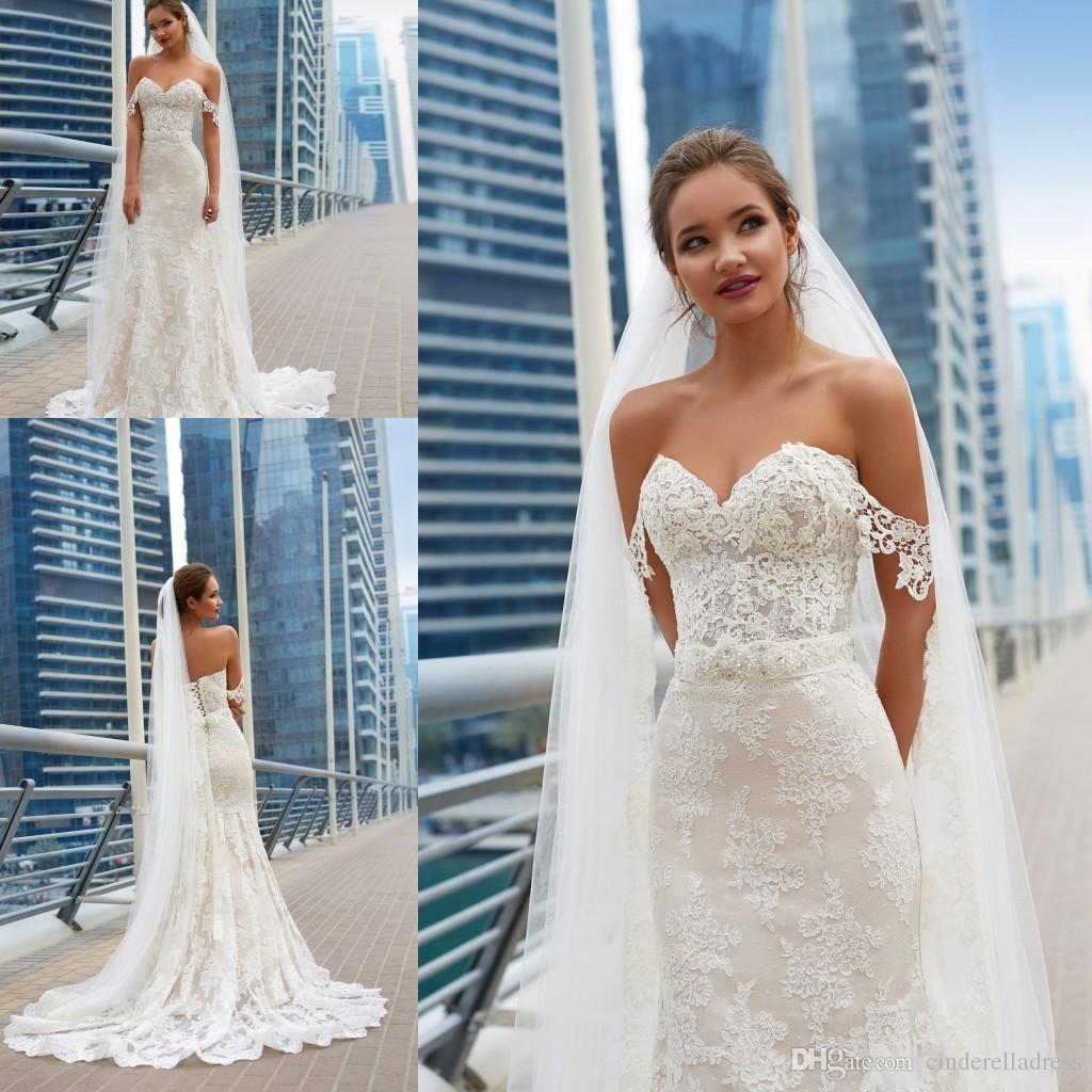 49b0f0777426 Vintage Wedding Dresses 2018 Mermaid Elegant Full Lace Appliques Corset  Lace Up Back Cheap Long Train Bridal Gowns BA8849 Plus Size Bridal Gowns  Romantic ...
