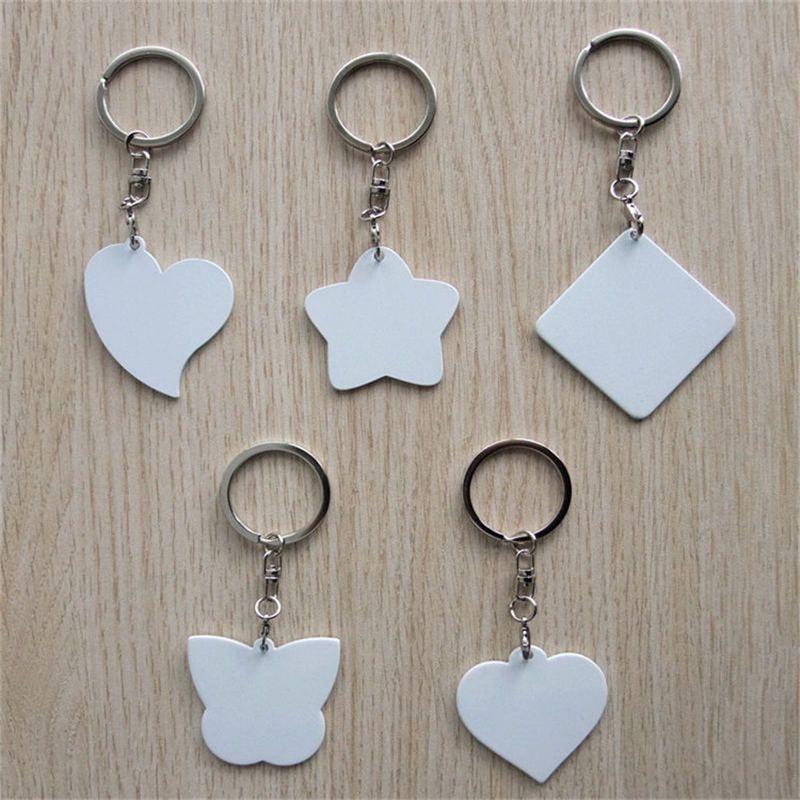 Llaveros de hierro en blanco para la sublimación estrella del corazón llavero joyería para la impresión de transferencia de calor regalo de bricolaje 9 estilos pueden personalizar el diseño