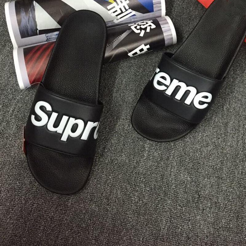 b8bdbbf27ba9 New Brand Beach R1Supreme Slippers Men Flats Sandals Pullover Bathroom Slippers  Box Logo Classic Black Red Summer Huse Hip Hop Men Slippers Flat Shoes  Wedge ...