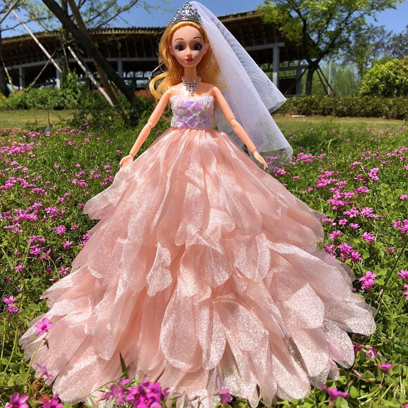 Lillian Barbie Wedding Dress Doll 3d Real Eye Children\'S Toy Girl ...