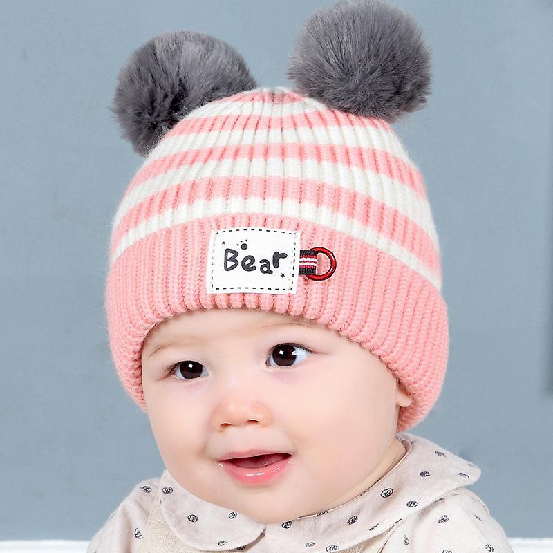 Acheter Hiver Newbron Baby Bonnet En Laine Crochet Chaud Infant Hat Avec  Pompon Toddler Fille Bonnet Boule De Cheveux Pour Bébé Garçon Bonnets  Chapeaux De ... 858b46afb12