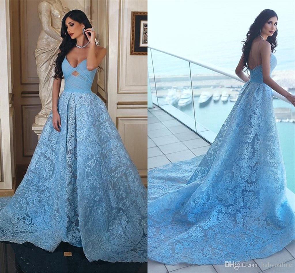 ac5e8f5c63f6 Gorgeous Sky Blue Lace Evening Dresses 2018 Sexy Backless Sweetheart Long  Women Prom Party Gowns Celebrity Pageant Gowns Arabic BA9494 Summer Evening  ...