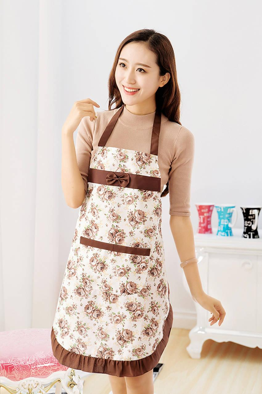 Merveilleux Fashion Kitchen Apron For Women Bib Cooking Apron Waterproof Flower Printed  Restaurant Home Kitchen Aprons With Pocket