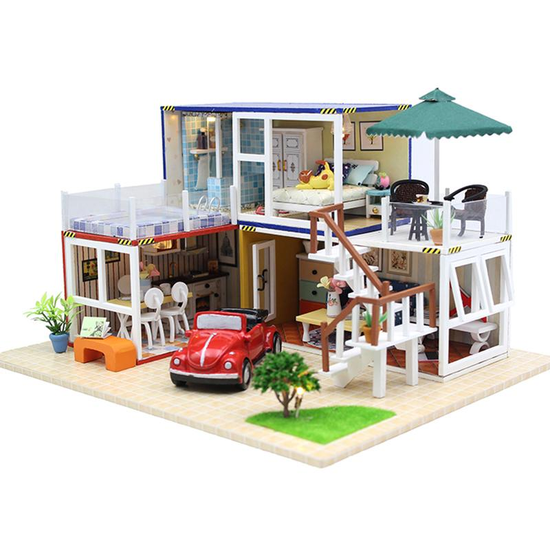 Furniture Diy Doll House Wooden Miniature Doll Houses Furniture Kit