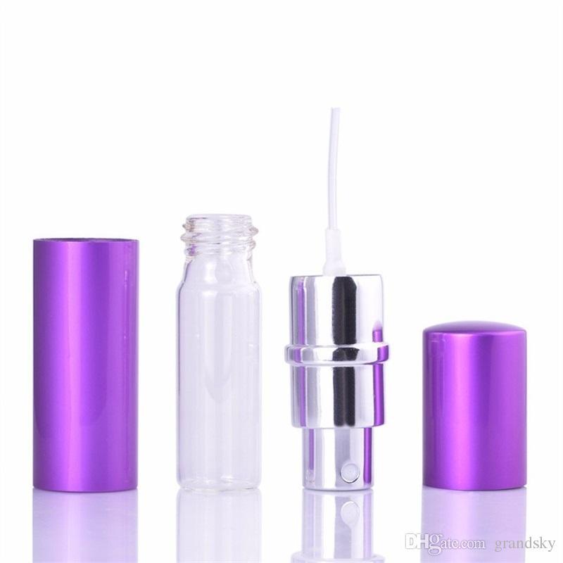 Precio al por mayor 5 ml Mini Spray Botella de Perfume Recargable de Viaje Vacío Contenedor Cosmético Botella de Perfume Atomizador Botellas Recargables de Aluminio
