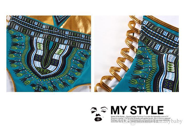 2018 Yeni Afrika Baskı Tek Parça Banyo Takım Elbise Bikini Set Seksi Geometrik Mayo Mayo Altın Yüzme Suit