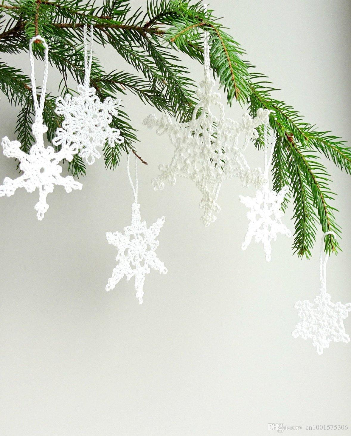 Grosshandel Christbaumschmuck Weisse Schneeflocken Dekorationen Hakeln