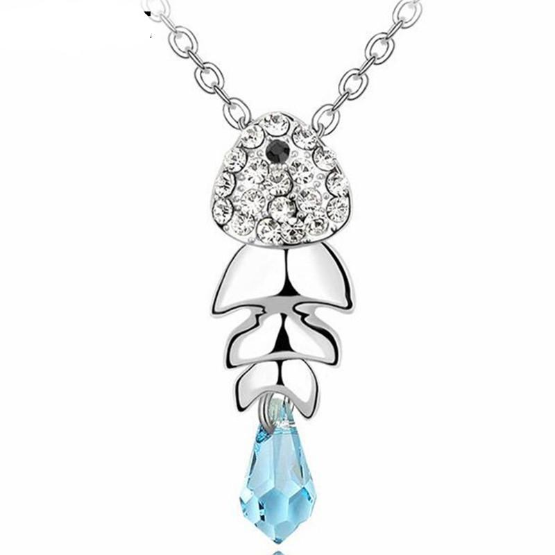Women Fashion Jewelry Fish Necklaces Pendants Crystal from Swarovski Elements High Quality Accessories White Gold Plated 1568