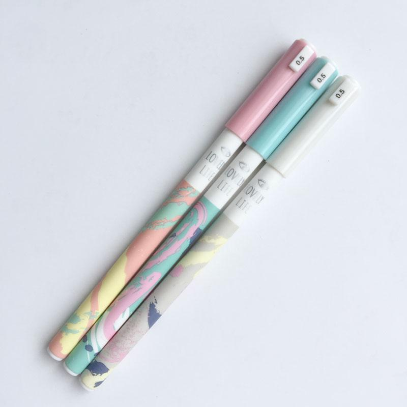 3X Colorful Life Abstract Art Gel Pen School Office Supply Student Stationery Black Ink 0.5mm Kids Gift