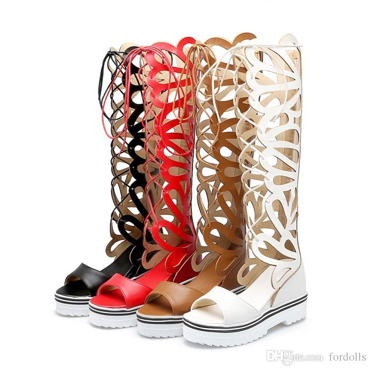 e72bebb122e New Fashion Women Gladiator Sandals Knee High Open Toe Sandals Thick  Platform Wedge Summer Boots Sexy Big Size 43 Wedge Booties Saltwater  Sandals From ...