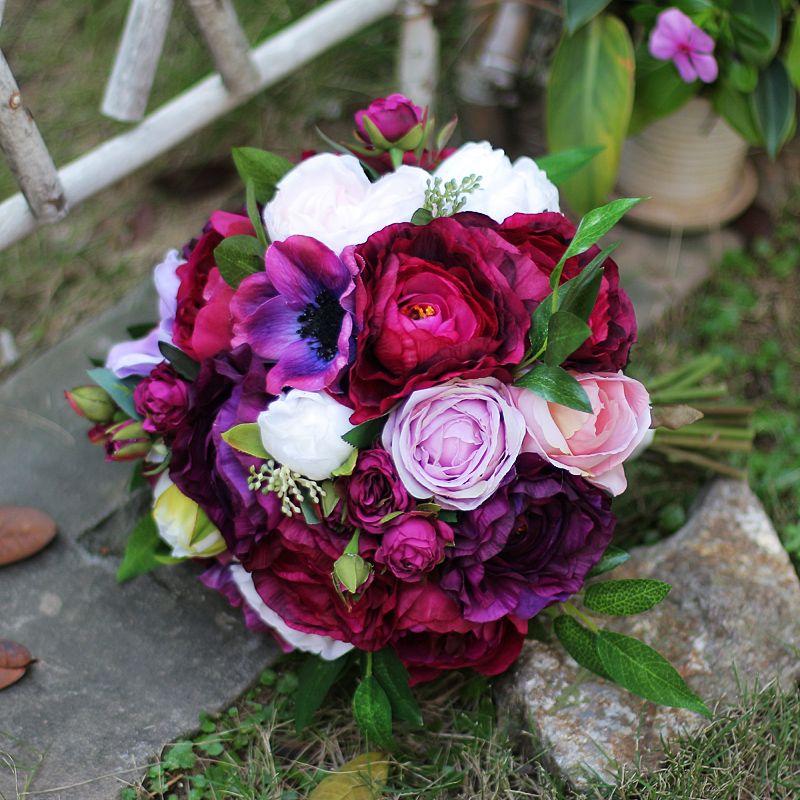 2018 High-end Artificial Wedding Bouquet Hand Bouquet For Bride Vintage Dark Red Bridal Bouquet Holding Flowers Roses Brooch Buque De Noiva