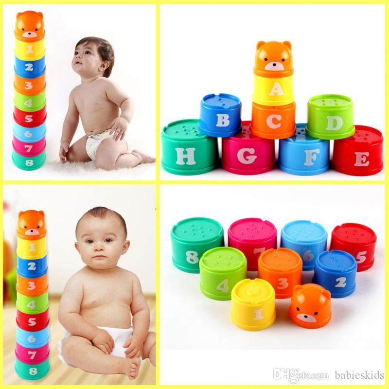 100% Quality Children Arabic Numbers Letters Print Colorful Stacking Cups Plastic Toy Kitchen Toys Pretend Play