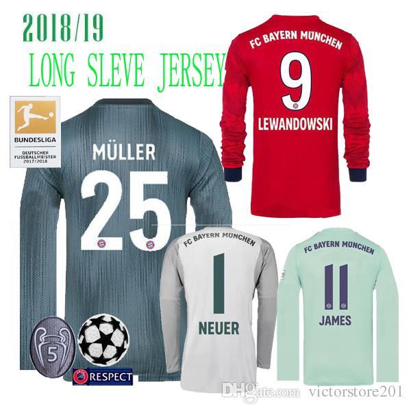 a909ecc2d Großhandel 18 19 Bayern München NEUER 1 GOALKEEPER FUSSBALL JERSEYS JAMES  MULLER HOME GRAU 2018 DRITTES GK LANGARM JERSEY LEWANDOWSKI HEMDEN Von ...