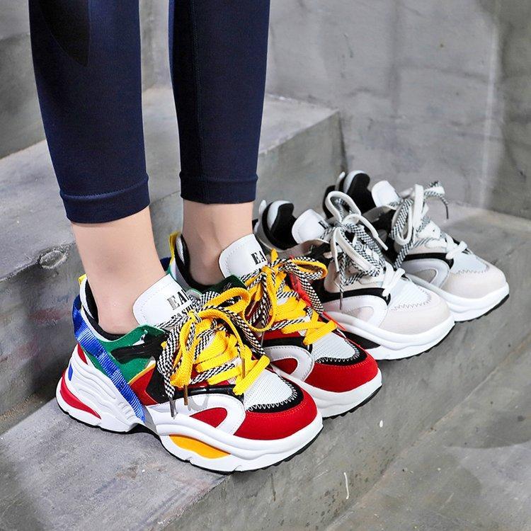 0ad83c32f55240 Acheter 2018 Nouveau Printemps Automne Chaussures De Mode Femmes Maille  Respirant Creepers Plateforme Chaussures Femme Baskets Plat Casual De $39.9  Du ...