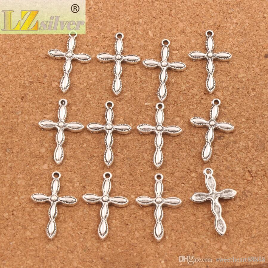 150 unids / lote cruz encanto religioso perlas 18.3x29.2mm colgantes de plata tibetana joyería de moda diy l465