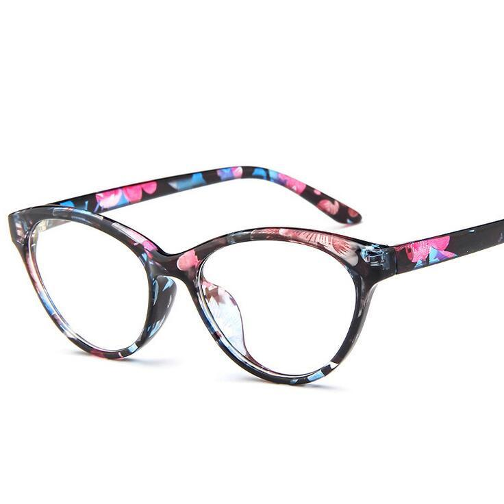 49e93c5ac40 2017 New Cat Eye Glasses Frame Women Brand Vintage Optical Print ...