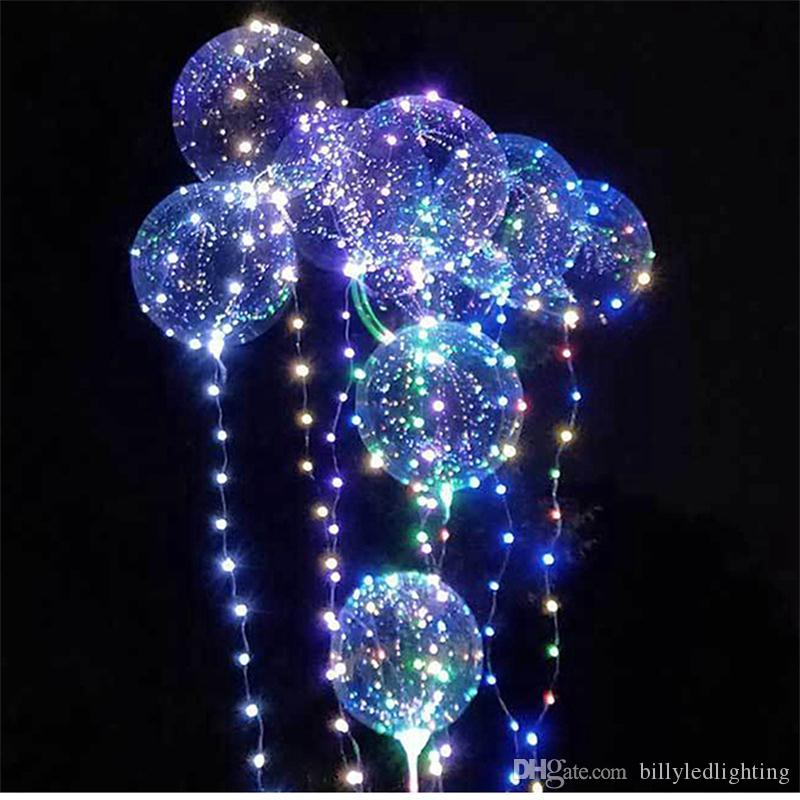 18/24 Inch Luminous Led Balloon 3M LED Air Balloon String Lights Colorful Transparent Round Bubble Kids Toy Wedding Party Christmas Decor