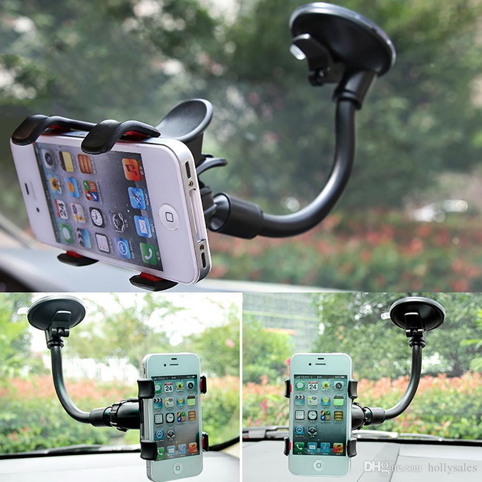 20cm langen Arm Universale Mobiltelefon-Halter 360 flexible Drehwindschutzscheibenhalterbügel mit Stütz chuck Schnalle Smartphone Halterung