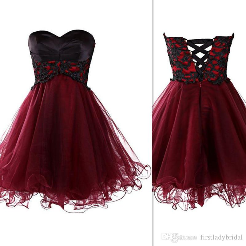 2018 Burgundy And Black Short Graduation Dresses Sweetheart Short