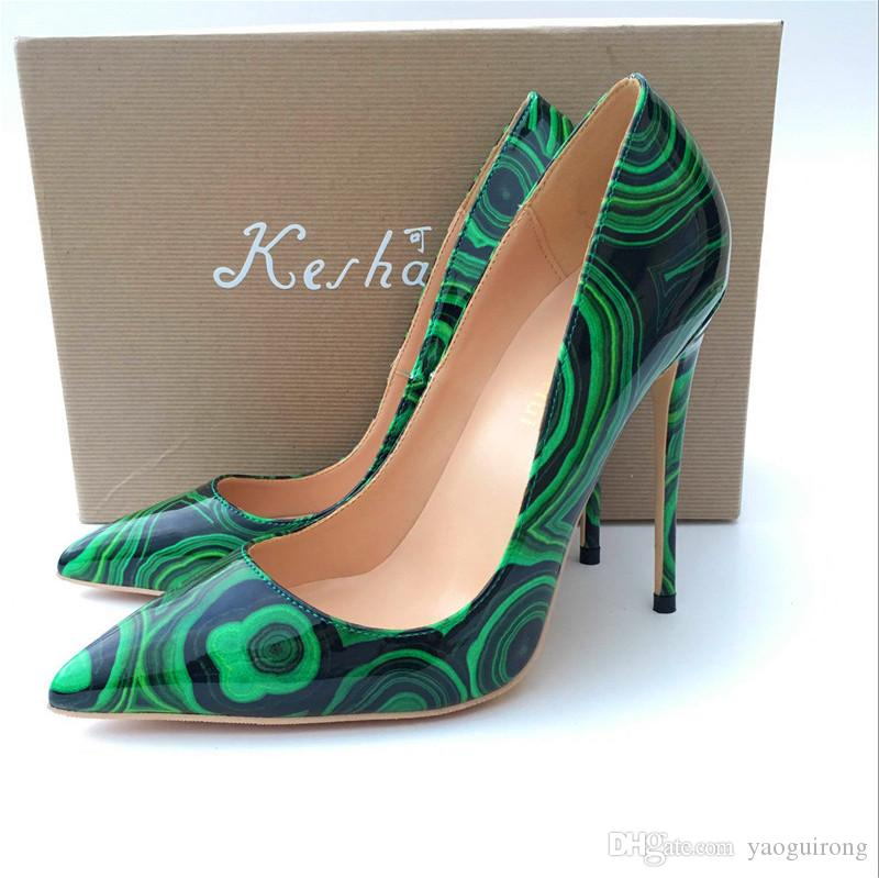 fab2f3b84c 2018 Green Prints, Pointed High Heels, Fashionable Sexy And Fine Shoes, ,  Sole Shoes, Customized 33 45 Yards. Scholl Shoes Silver High Heels From  Yaoguirong ...