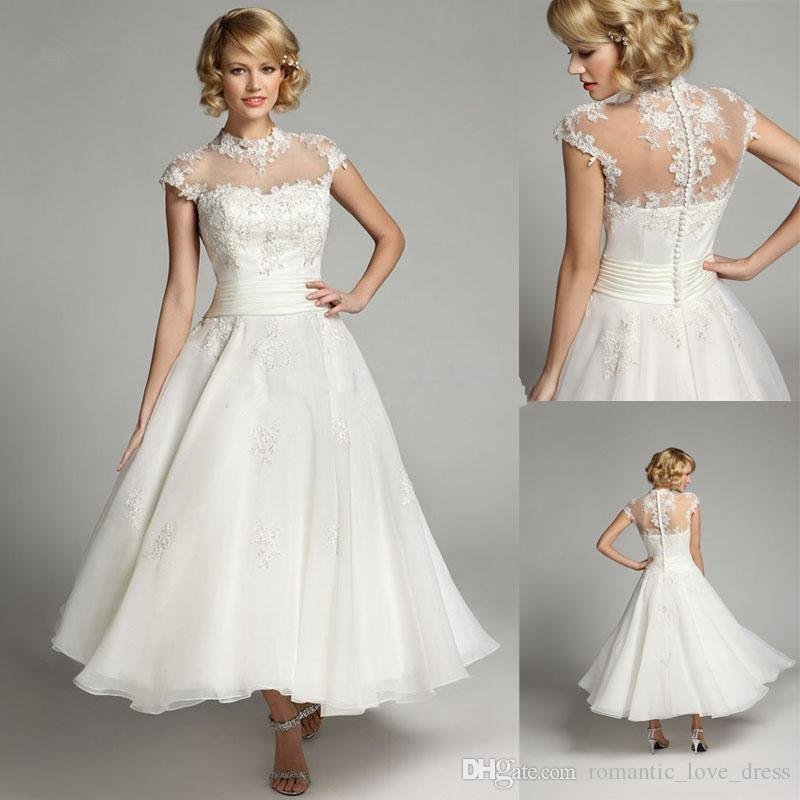 Discount 1950s Vintage Short Wedding Dresses Cap Sleeve
