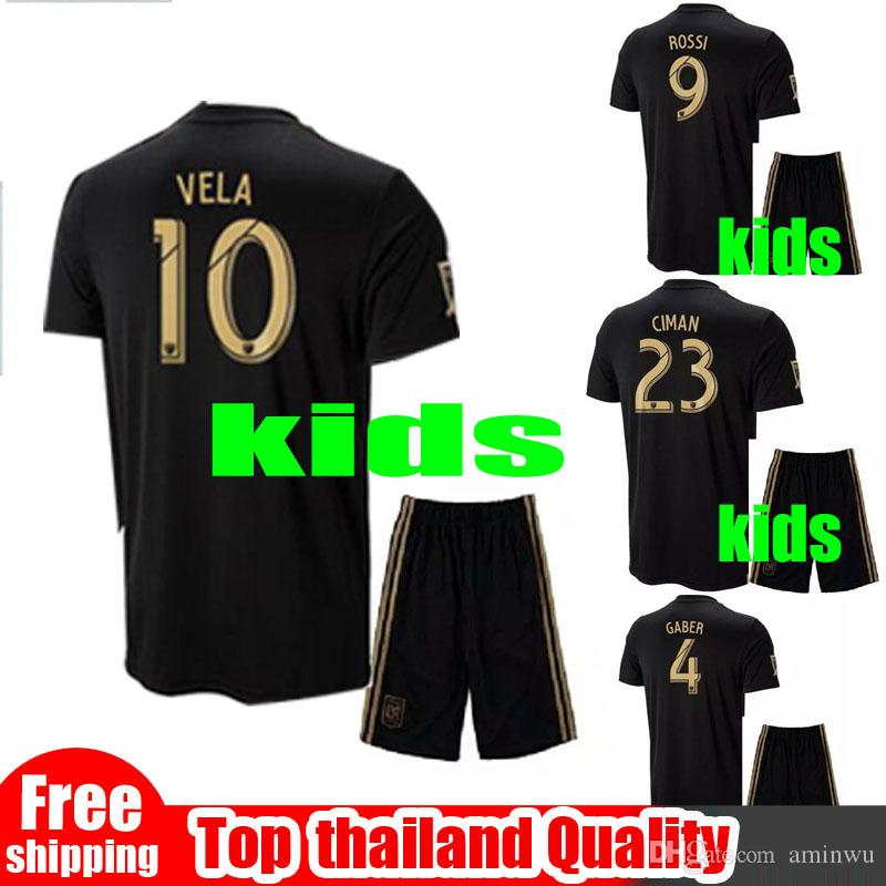 6709d028160 2019 LAFC Kids Soccer Jerseys Los Angeles FC 18 19 Home Carlos Vela GABER  ROSSI Black Boy 2 13 Years Old Football Soccer Set From Aminwu