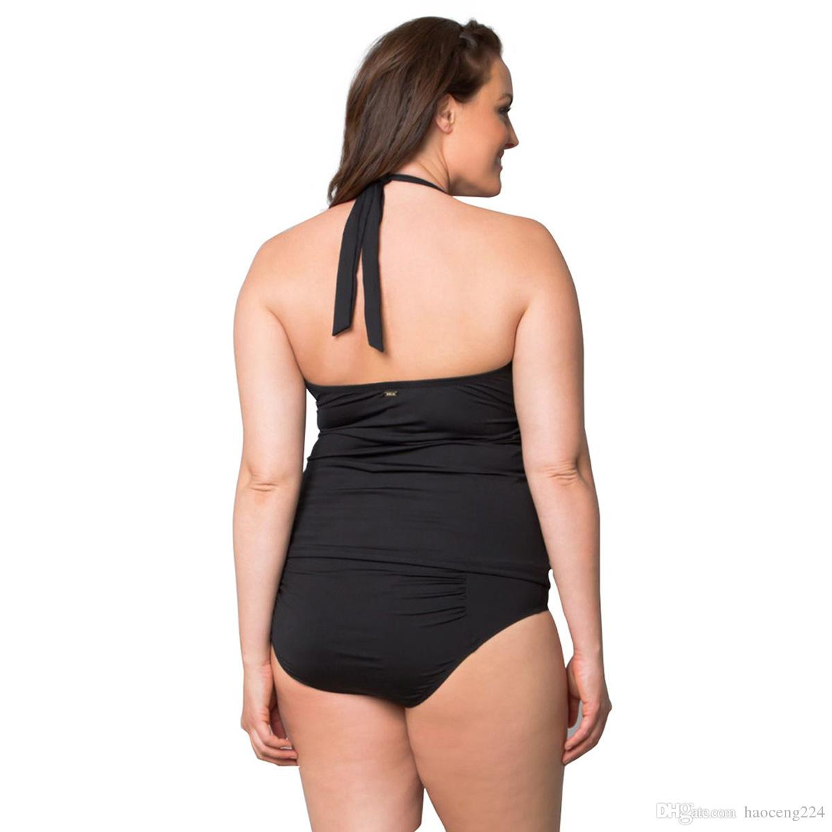 Plus Size maillot de bain One Piece Sexy Femmes Swinwear Deep V Body bikini Body Halter solide Hip Up femmes maillot de bain Beachwear Monokini gros