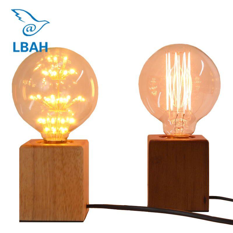 Acheter Lbah Vintage Edison Ampoule Incandescent E27 Lampe De Table