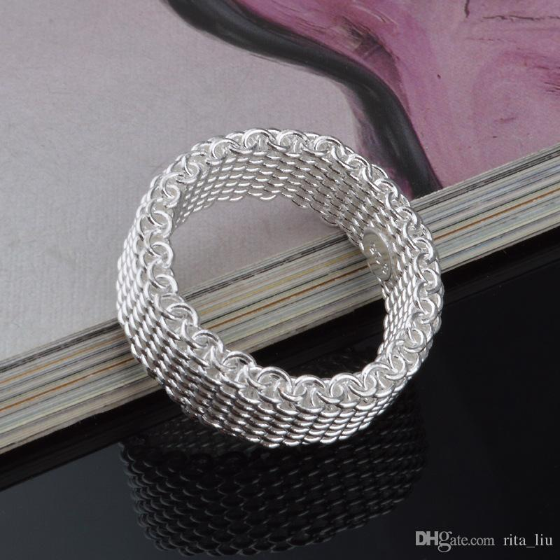 Hot Selling 925 Sterling Silver Wedding Rings For Women Simple Weaving Wide Finger Rings Engagement Jewelry Bridal Bijoux Anel Wholesale