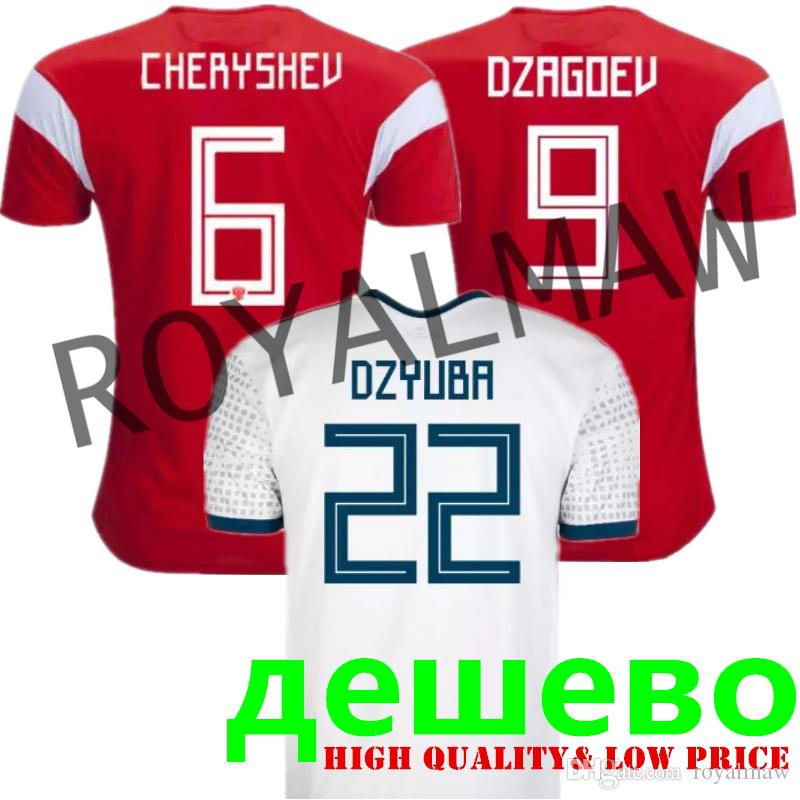afd34104e4f 2019 2018 World Cup Russia Jersey Cheap Wholesale Russian National Football  Team Shirt Home Red Away White Soccer T Shirt CHERYSHEV SMOLOV DZYUBA From  ...