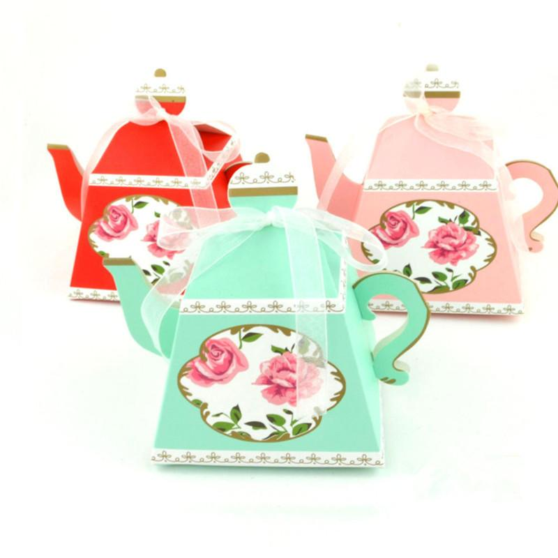 50 PCS Royal Teapot Candy Box Afternoon Tea Party Cookies Gift Box Wedding Party Favors Boxes
