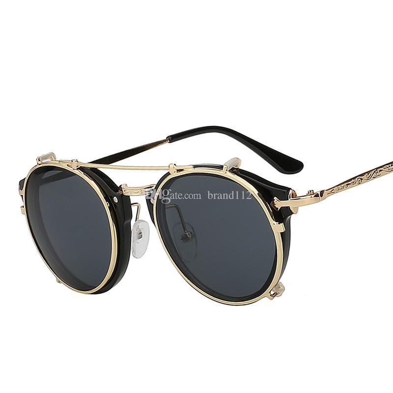 2018 Clip On Sunglasses Men Steampunk Brand Design Women Fashion Glasses Vintage  Retro Fashion Sunglasses Oculos UV400 Designer Glasses Sunglasses Uk From  ... 12f35fba54