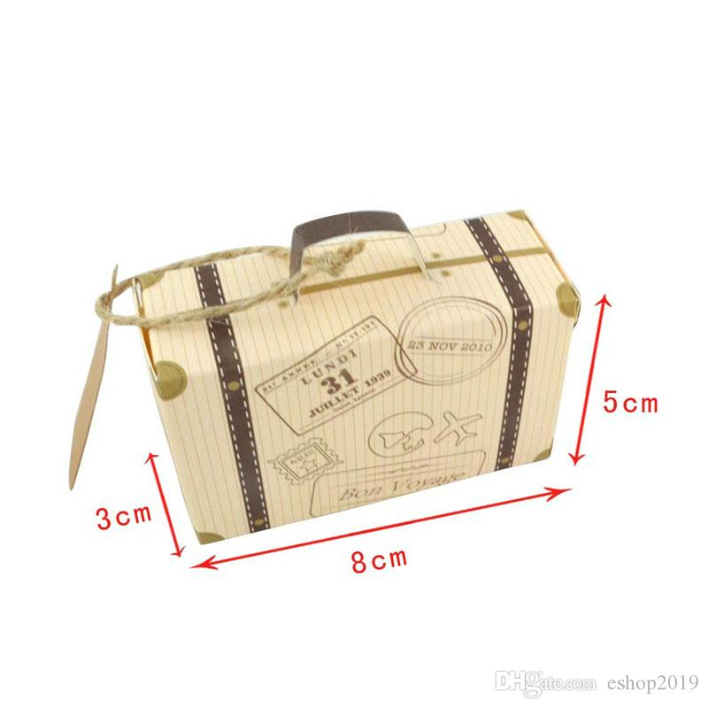 Scatola di cioccolatini di carta Kraft Scatola di cioccolatini d'epoca Mini valigia Scatola di caramelle Scatole regalo di nozze