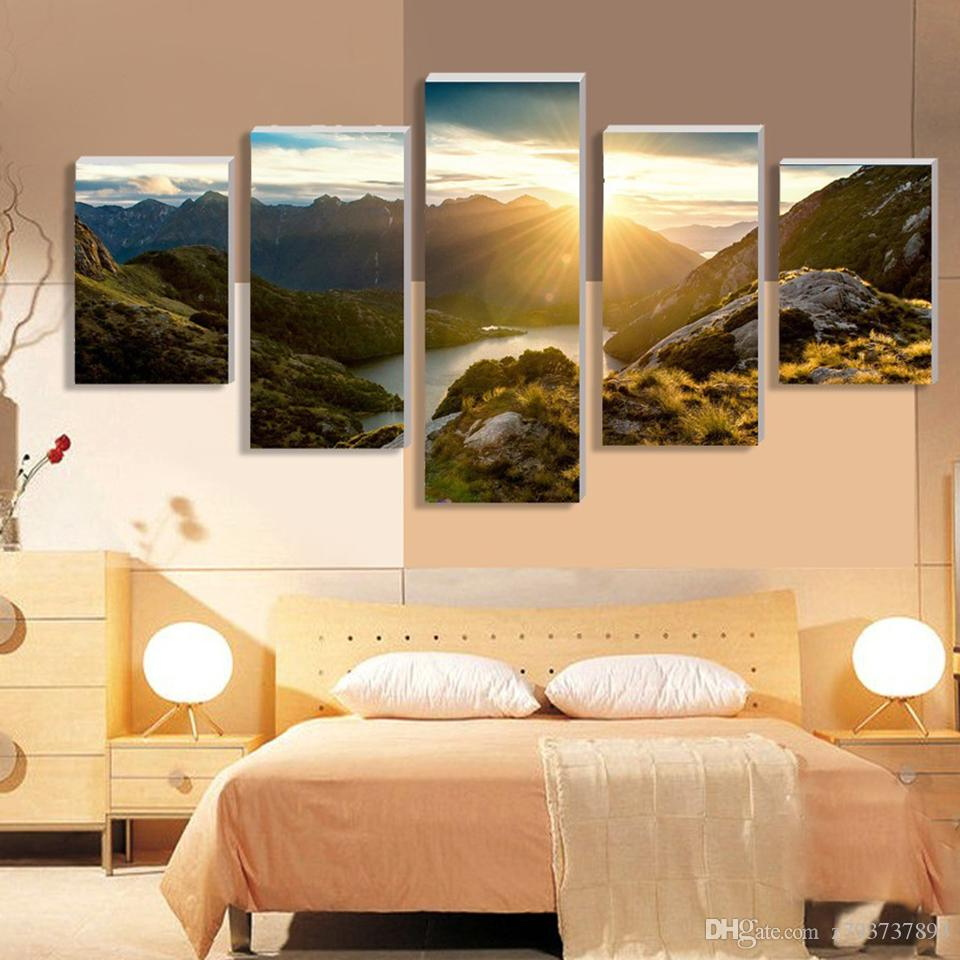2018 Wall Art 5 Panel Mountain And River Landscape Canvas Modular ...