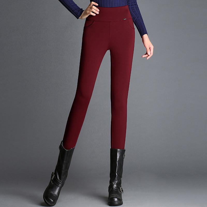 O tamanho grande Inverno Rússia Mulheres magro Magro de lã grossa de veludo leggings quente calças de cintura alta elástico com painéis vermelhos da senhora Calças compridas Casual