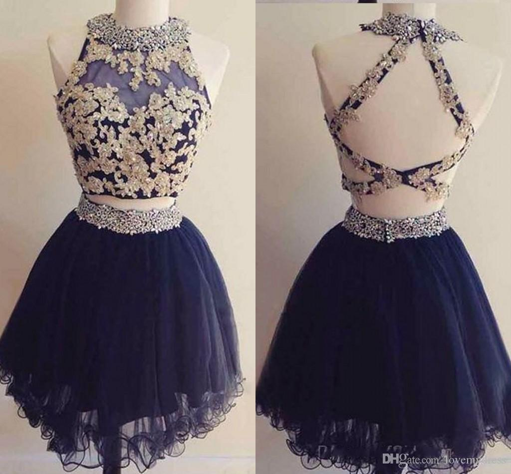 5a3e432d00c 2018 Navy Blue With Gold Lace Homecoming Prom Dresses Short Cheap Designer  Sheer Neck Applique Beaded Two Pieces Tulle Ball Gown Formal Perfect  Homecoming ...