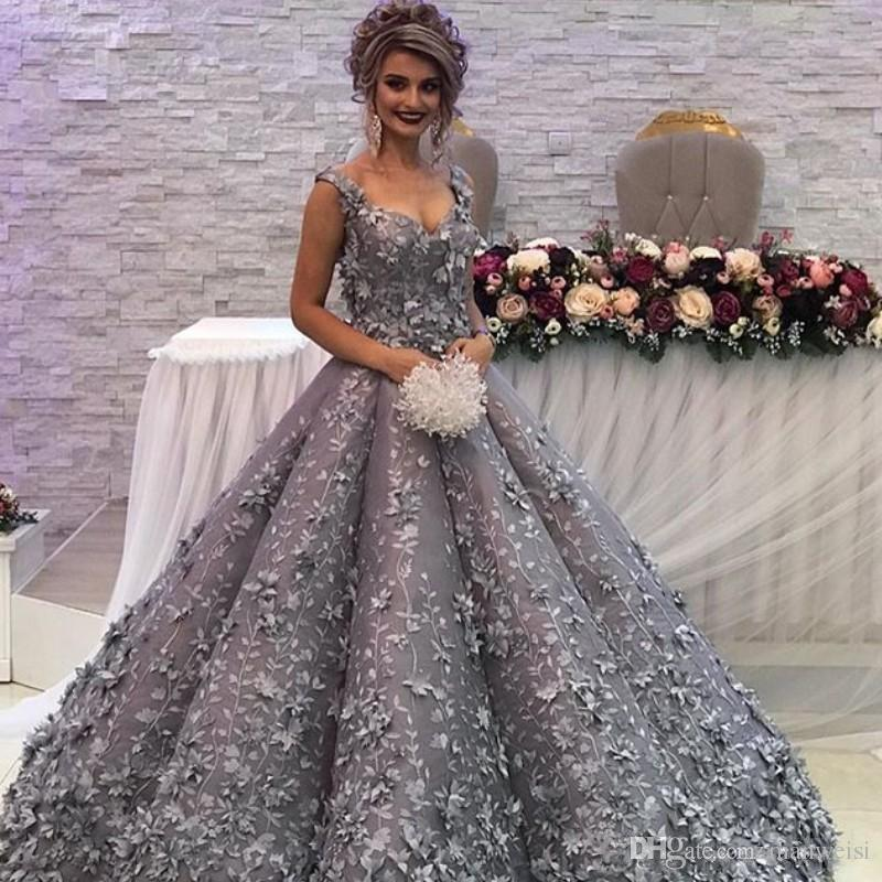 60f8cd7e9fe66 3D Flower Appliqued Silver Evening Dresses Glamorous Sweetheart Strap Lace  Appliques Engagement Dress Charm Arabia Ball Gown Prom Dress